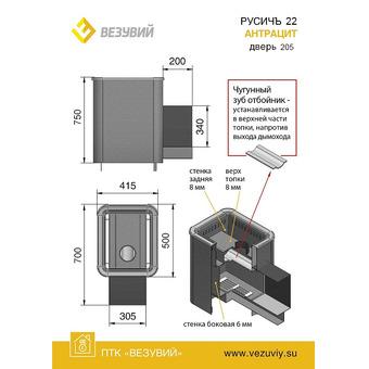 ПЕЧЬ РУСИЧЪ АНТРАЦИТ 22 (205)
