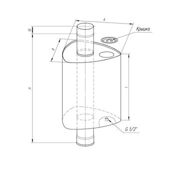 Бак Комфорт треугольный на трубе 55л d=115 Феррум