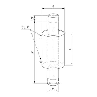 Бак Комфорт для печи с вод. конт. 12л d=115 Феррум